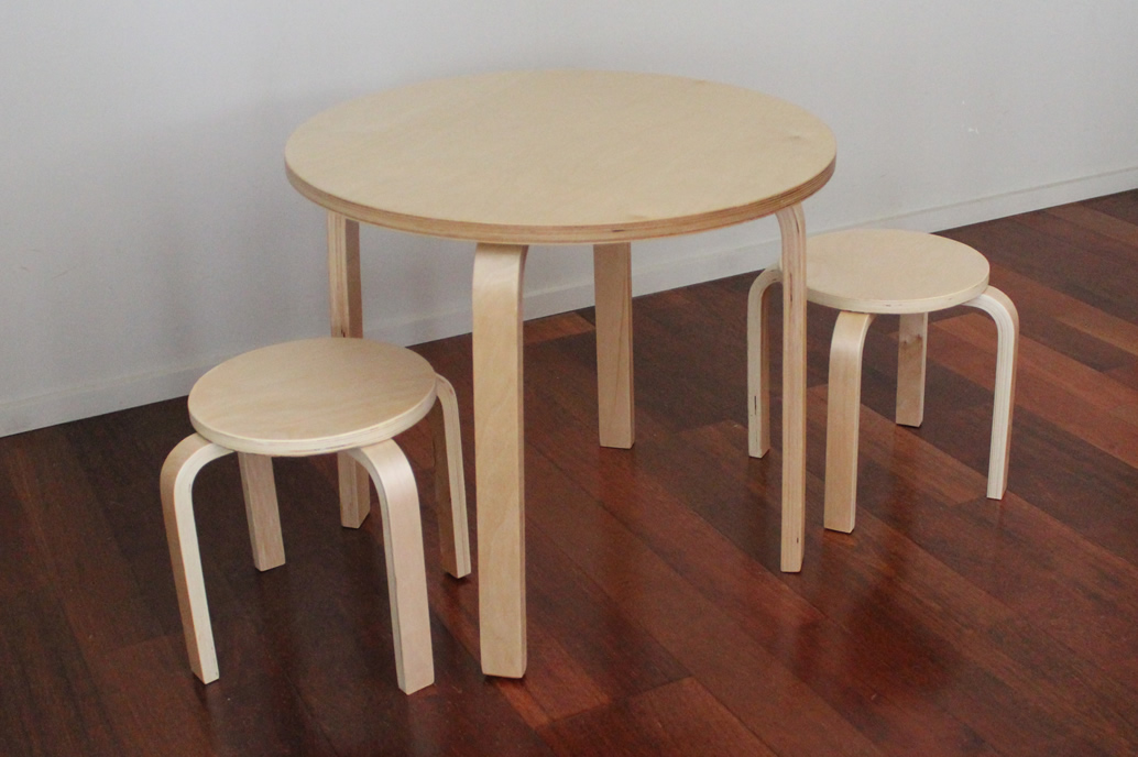 Wooden Kids Table+ 2 Stools