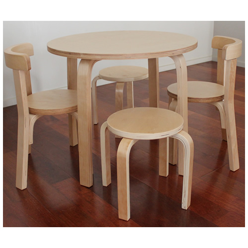 Wooden Kids Table+ 2 Chairs+ 2 Stools