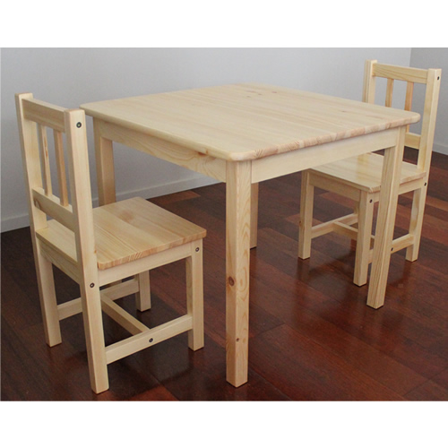 Brand New Solid NZ Pine Child Table + Two Chairs