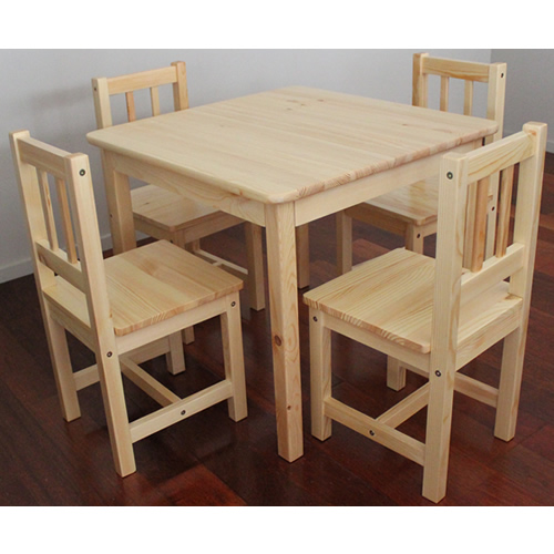 Brand New Solid NZ Pine Child Table + Four Chairs